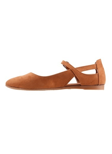 Ayakland Ayakland 1920-201 Günlük Sandalet Bayan Süet Babet Ayakkabı Taba